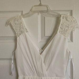 Long White Lace V-cut Dress